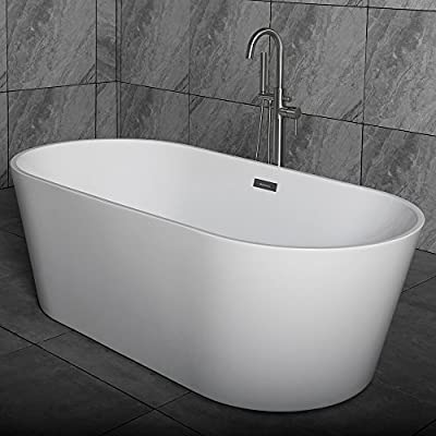 Woodbridge Acrylic Freestanding Bathtub Contemporary Soaking Tub with Brushed Nickel Overflow and Drain