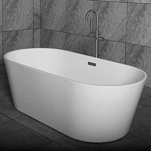 Review WOODBRIDGE 59 Acrylic Freestanding Bathtub Contemporary Soaking Tub with Brushed Nickel Over...