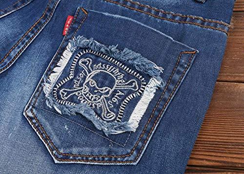 Pants Targogo Senza A Diritti Sottili Vita Blu Bassa Stretch Casual Denim Fit Retro Cinturino Strappati Slim Jeans Men Pantaloni CrRqHx5wr