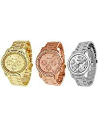 3PCs Silver Gold and Rose Gold Plated Classic Round Ladies Watch