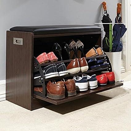 De lujo de 12 pares de zapatos de banco Otomano organizador pasillo ...