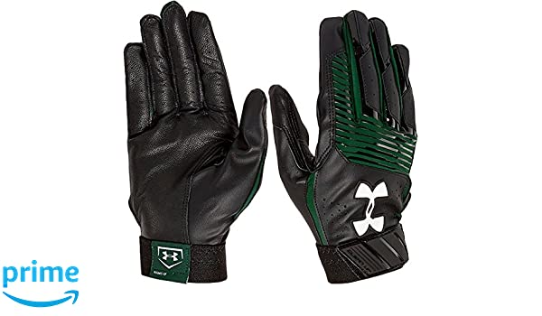 Under Armour UA Clean Up Baseball Batting Gloves Youth MEDIUM Black//Forest Green Graphics
