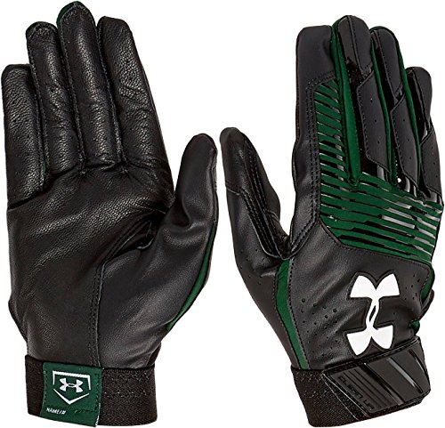 Under Armour UA Clean Up Baseball Batting Gloves Youth MEDIUM (Black/Forest Green Graphics)