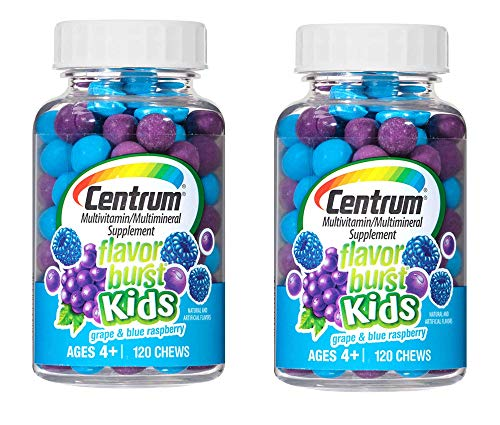 Centrum Flavor Burst Kids Multivitamin/Multimineral Supplement in Grape and Blue Raspberry for Ages 4+ (120 Chews) Pack of 2