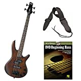 Ibanez GSRM20B Mikro 3/4 Size 4-String Electric Bass Guitar (Walnut Brown) with Guitar Strap and Hal Leonard Beginning Bass At a Glance Book and DVD