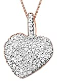 White Natural Diamond Hip Hop Heart Pendant Necklace In 14K Rose Gold Over Sterling Silver (0.32 Ct)