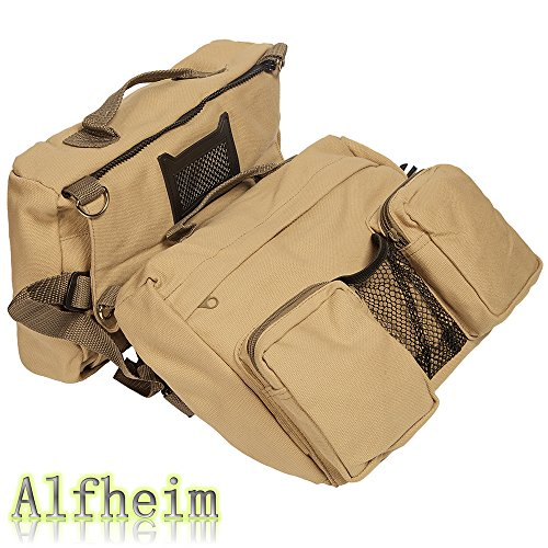 Alfheim Cotton Canvas Dog Pack Hound Travel Camping Hiking Backpack Saddle Bag Rucksack for Large Dog
