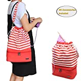 Teamoy Knitting Bag, Drawstring Travel Shoulder Tote Bag Organizer for Yarn, Unfinished Project, Knitting Needles and Accessories, Perfect for Knitting on The Go , Red Strips, No Accessories Included