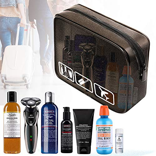 Travel Toiletry Organizer Bag Carry On Clear Airport Airline Compliant Bag Travel Cosmetic Makeup Bags (Black)