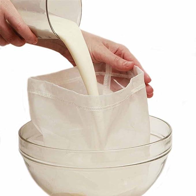 Compra Bolsa de leche de almendra Alsyiqi, reutilizable, de malla fina, colador de alimentos multiusos, 1 unidad, nailon, Blanco, 100 Mesh en Amazon.es