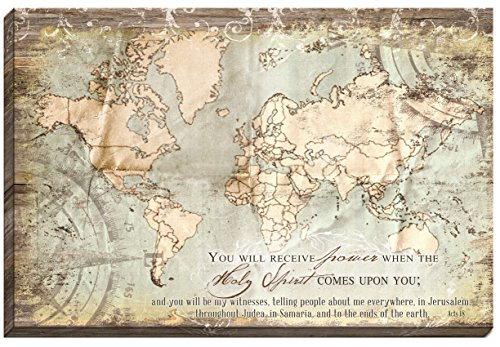 Carpentree Acts 1:8 Map Canvas Wall Art, 36 x 24'' by Carpentree