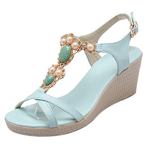 COOLCEPT Damen Open Toe Sandalen Schuhe Keilabsatz Blue