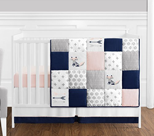 4 pc. Navy Blue, Pink, and Grey Patchwork Woodland Fox and Arrow Baby Girl Crib Bedding Set without Bumper by Sweet Jojo Designs [並行輸入品]   B07CZHQ2C6