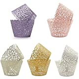 75pcs Cupcake Wrappers,Filigree Artistic Bake Cake Paper Cups Little Vine Lace Laser Cut Liner Baking Cup Trays for Wedding Party Birthday Decoration 5 colors Mix(75)
