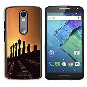 EJOOY---Cubierta de la caja de protección para la piel dura ** Motorola Moto X3 3rd Generation ** --Naturaleza Pascua Isla Estatua Sunset