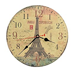 12 Inch Vintage Silent Wooden Wall Clock Round Decorative Wall Clock Home Decoration - Paris Eiffel Tower with Stamp