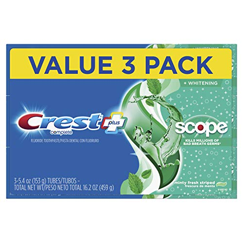 Crest Complete Whitening + Scope Toothpaste, Minty Fresh, 5.4 Ounce Triple Pack (Best Natural Toothpaste Reviews)
