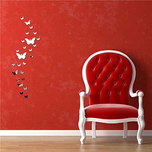Fesjoy Wall Stickers, Wall Decal Butterfly Acrylic Crystal Mirror Stickers for Room Home Decoration