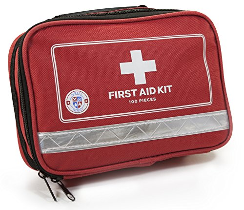 Always Prepared First Aid Medical Kit in Red Fabric Bag with Reflective Strip (100 Pieces)