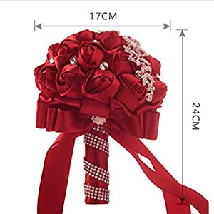 Wedding Bouquet ,YJYDADA Crystal Roses Bridesmaid Wedding Bouquet Bridal Artificial Silk Flowers 2