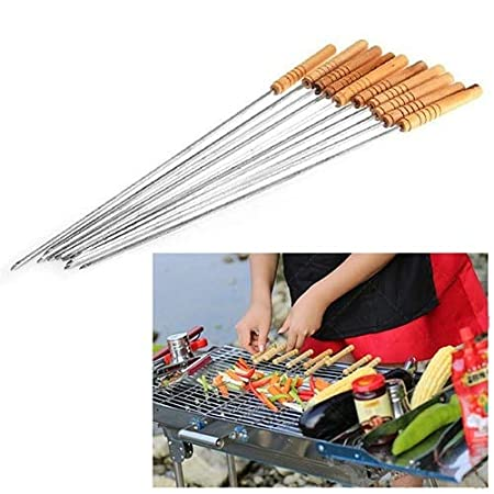 Home Buy Skewers for Tandoor Barbeque Grill Steel Needles, 16 Inches (8 Nos)