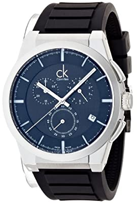 Calvin Klein Men's 'Dart' Swiss Quartz Stainless Steel and Rubber Casual Watch, Color:Black (Model: K2S371D1)