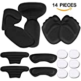 Heel Grips, High Heel Pads, Heel Inserts, High Heel Forefoot Cushion, Blister Prevention High Heel Insoles, High Heel Liners, Anti Slip Heel Shoe Cushion Inserts, Heel Snugs for Women (14 pcs) (Black)