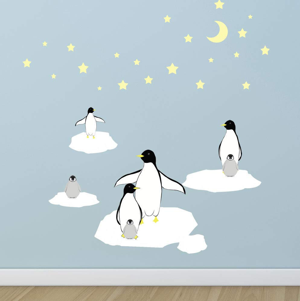 Create-A-Mural : Kids Room Penguin Wall Decals ~Children's Peel & Stick Nursery Wall Art Room Wall Decor