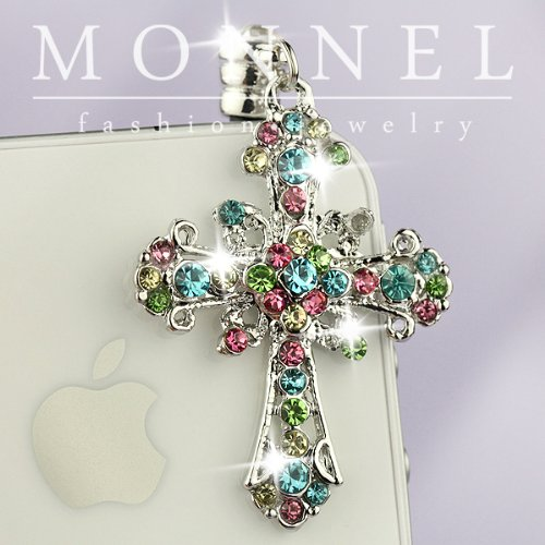 IP525-B Rainbow Crystal Cross Anti Dust Plug Cover Charm for iPhone Android 3.5mm