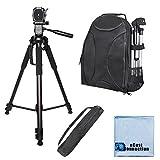 72 Inch Elite Series Full Size Camera Tripod + BP SLR Backpack for Panasonic HC-V100M, HC-V110, HC-V201, HC-V500M, HC-V520, HC-V720, HC-X920 & More... + Microfiber Cloth