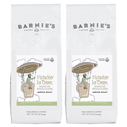 Barnie's Pistachio Ice Cream Ground Coffee | Creamy Smooth Coffee Blend | Sugar Free, Gluten Free, Fat Free | Medium Roasted Arabica Beans | 2-Pack