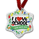 Personalized Name Christmas Ornament, I Love School NEONBLOND