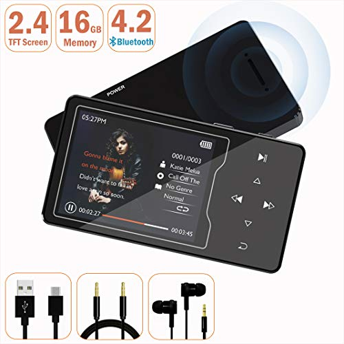 MP3 Player – HonTaseng Bluetooth 4.2 HiFi Sound 16GB Music Player, 2.4 Inch Large TFT Screen with Build-in Speaker, and Support 128GB TF Card with Voice Recorder and FM Radio-Black