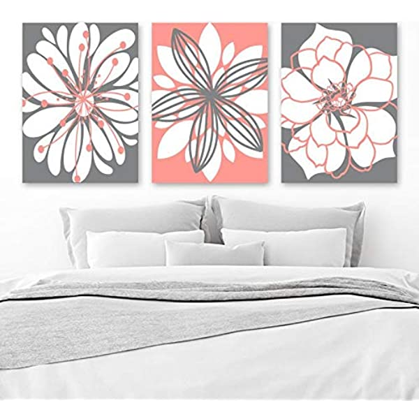 Amazon Com Coral Gray Flower Wall Art Canvas Or Prints Floral Bathroom Decor Coral Gray Bedroom Wall Decor Flower Wall Art Set Of 3 Artwork 8x10 Inch Posters Prints