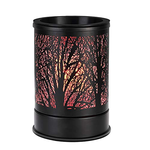 Enaroma Fragrance Wax Melts Warmer with 7 Colors LED Changing Light Classic Black Forest Design Scent Oil Candle Warmer