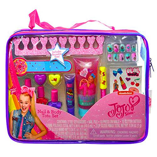 JoJo Siwa Girls Nail and Body Cosmetics Gift Set Polish Lip Gloss Press On Nails