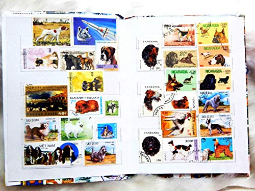 Premier 200+ World Stamp Album Stock Book with 50 Different Rare Vintage Canine Friends/Pet Dogs Postage Stamps - Postage Dog Stamp