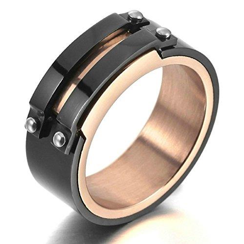 Bishilin Mens Stainless Steel Black Gold Charm Elegant Charm Wedding Rings Size 7 ()