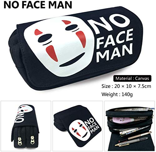 Black No Face Man Large Big Capacity Canvas Double Zipper Anime Cartoon Animal Pen Bag Pencil Case Game Cosmetic Makeup Pouch Stationery Office School Supplies Holder Set ()