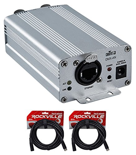 Chauvet DJ DMX-AN Art-Net to DMX or DMX to Art-Net Interface Converter+2) Cables by Chauvet