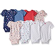 Carter's Baby Girls' 8 Pack Short Sleeve Bodysuits, Floral Dot, Newborn
