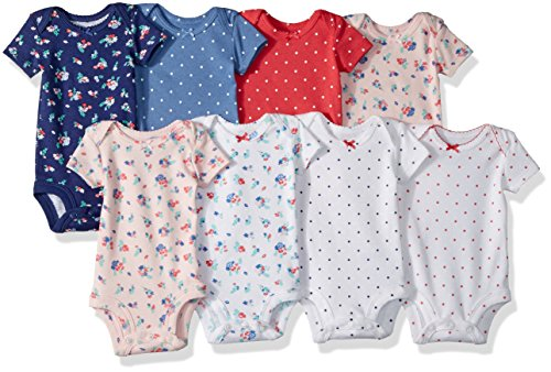 Carter's Baby Girls' 8-Pack Short-Sleeve Bodysuits, Floral Dot, 6 Months