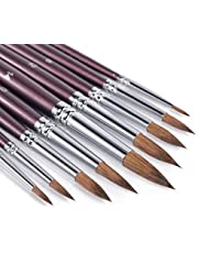 Sable Watercolor Brushes, Fuumuui 9pcs Detail to Mop Round Pointed Paint Brushes Superior Sable Paint Brushes Perfect for Watercolor Gouache Acrylic Ink Painting