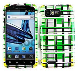 CELL PHONE CASE COVER FOR MOTOROLA ATRIX 2 MB865 TRANS GREEN PINK YELLOW BLOCKS