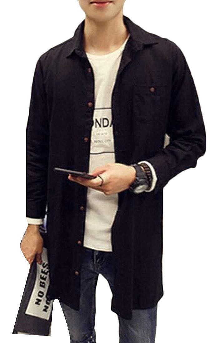 UUYUK Men Longline Single Button British Style Windproof Outwear