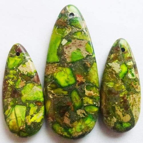 FidgetFidget M0046146 Beautiful 3pcs Green Sea Sediment Jasper & Pyrite Teardrop Pendant Bead (Jasper Teardrop Pendant)