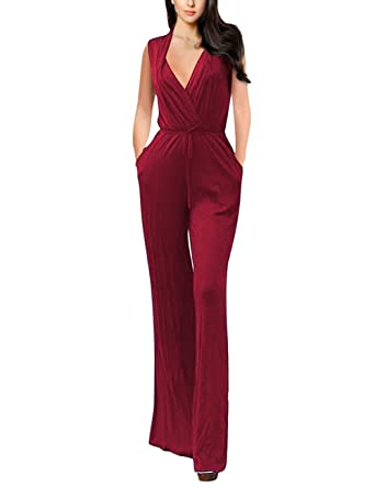 67699f58d94 AMZ PLUS Women s Plus Size Sexy Deep V Neck Sleeveless Long Jumpsuits  Rompers with Pocket Burgundy