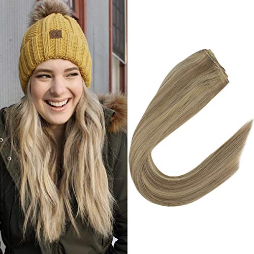 VeSunny 12inch Remy Blonde Human Hair Halo Extensions Dark Ash Blonde Highlight #22 Blonde Hair Extensions Halo Silky Straight Real Hair 80G/Set