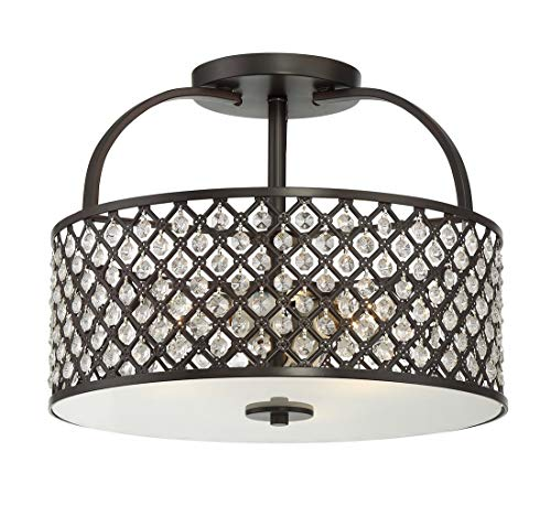 Trade Winds Lighting 3-Light Semi-Flush Fixture with Crystals in Oil Rubbed Bronze