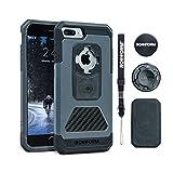 Rokform iPhone 8 & 7 PLUS Fuzion Pro Series Aluminum & Carbon Fiber Rugged Magnetic Phone case with twist lock & universal magnetic car mount (Gun Metal)